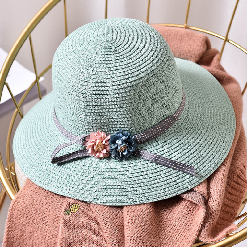 62ac294b257 HT1553K New Fashion Girls Flower Wide Brim Straw Hat Child Floppy Beach  Hats Kids Panama Bucket Hats Foldable Summer Sun Hat