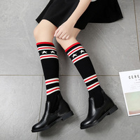 autumn winter women new round head chunky heel over knees boots female fashion sexy elastic striped with stars pattern boots