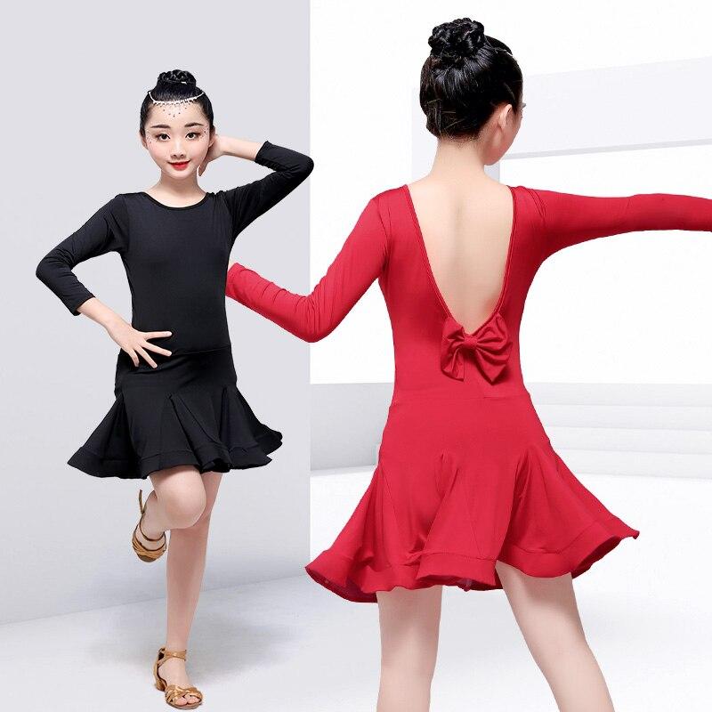 Deep V Back Latino Dance Dress Ballroom 3/4 Long Sleeve Dance Wear Girls Latin Dance Salsa Tango Dress