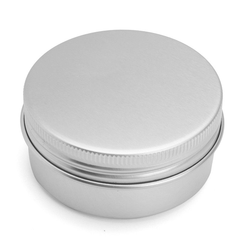 Empty Metal Cans 24pcs 50g Steel Round Tin Cans Screw Top Lid Storage Beard Lip Balm Empty Can Cosmetic Makeup Refillable Bottle