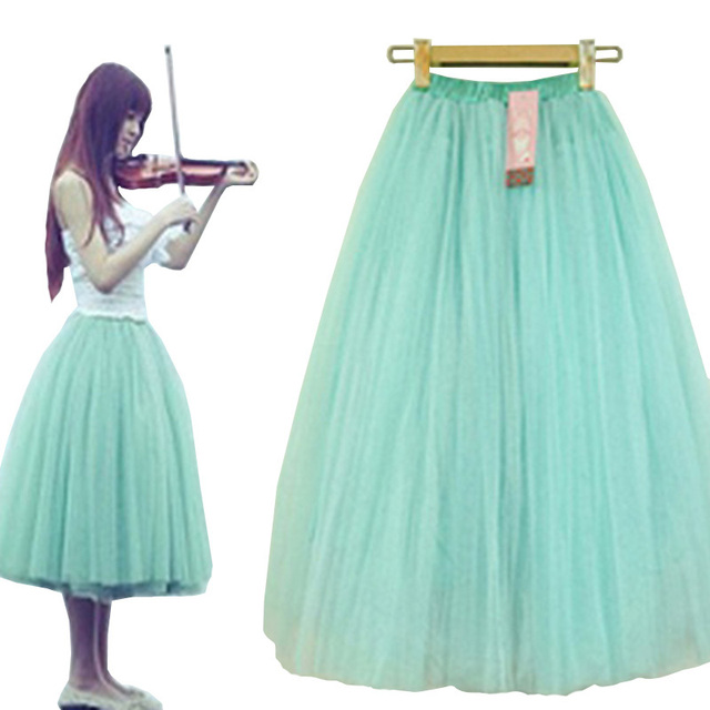 8b343e299 Adult Tutu Skirt 2015 Women Mesh Long Tulle Skirts Plus Size Saias  Femininas High Waist Summer