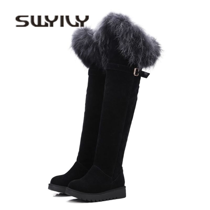все цены на SWYIVY Flock Ove The Knee High Snow Boots Woman 2018 Winter Plush Thick Velver Fur Tall Boots Fashion Lady Sexy Long Snow Boots