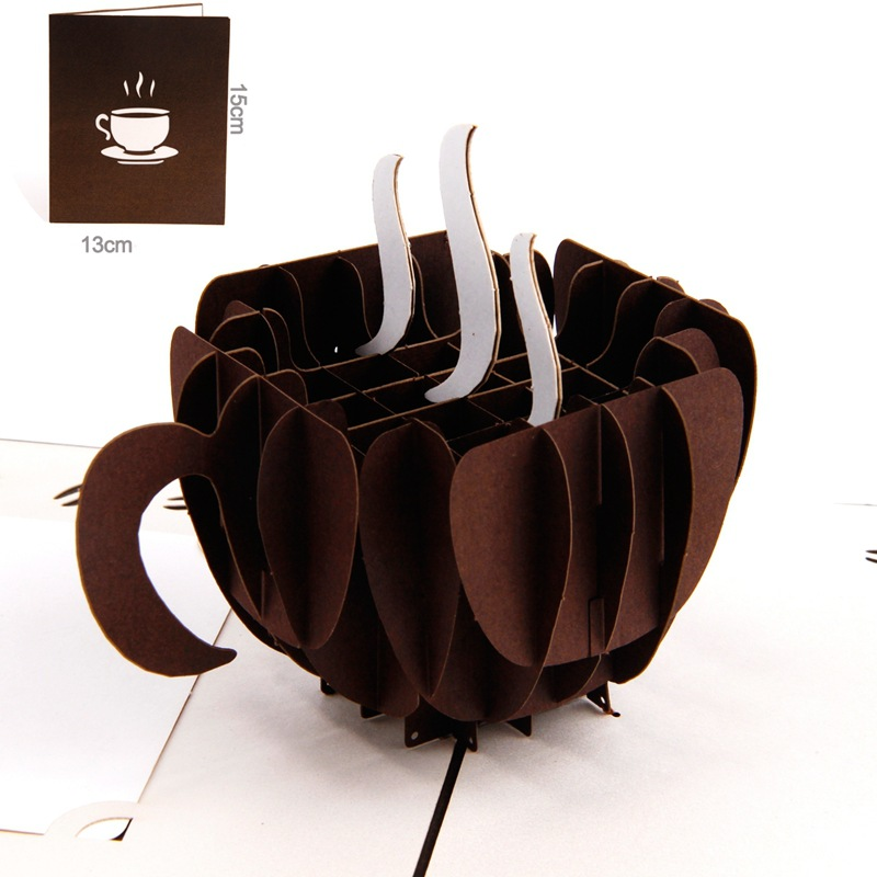 3pcs/lot Coffee kirigami origami paper arts and crafts 3d laser cut birthday postcards greeting cards for sale 30pcs in one postcard take a walk on the go dubai arab emirates christmas postcards greeting birthday message cards 10 2x14 2cm