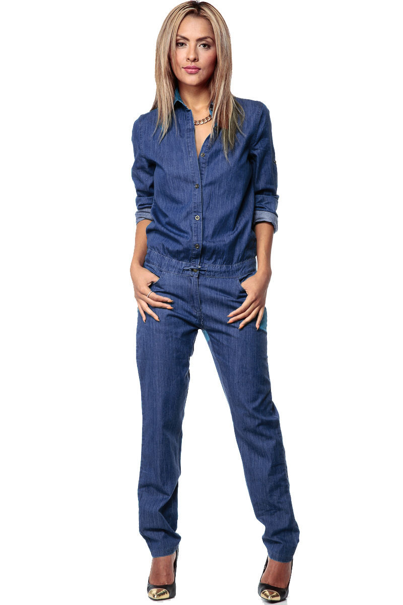 Casual Stylish Women Fashion Denim Jeans Long Sleeve Overalls Straps Solid Jumpsuit Trousers Women Bodysuits Office Lady Clothes