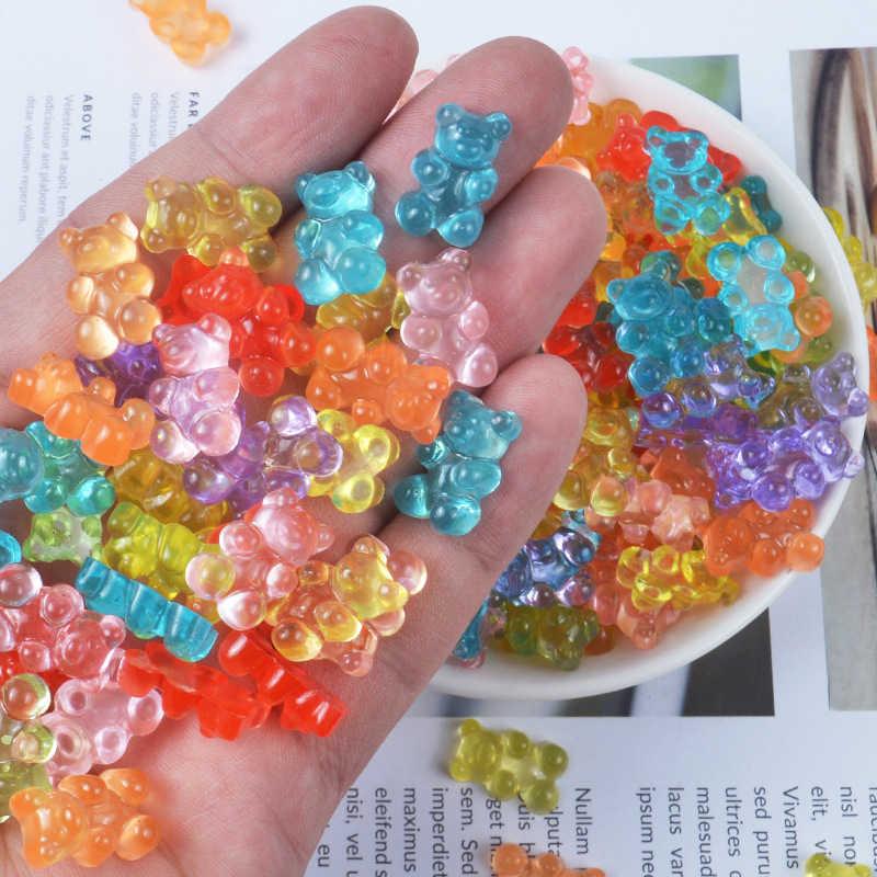 10 個スライムチャームかわいいミニクマ樹脂粘土スライムアクセサリービーズが供給子供のための Diy のスクラップブッキングクラフト