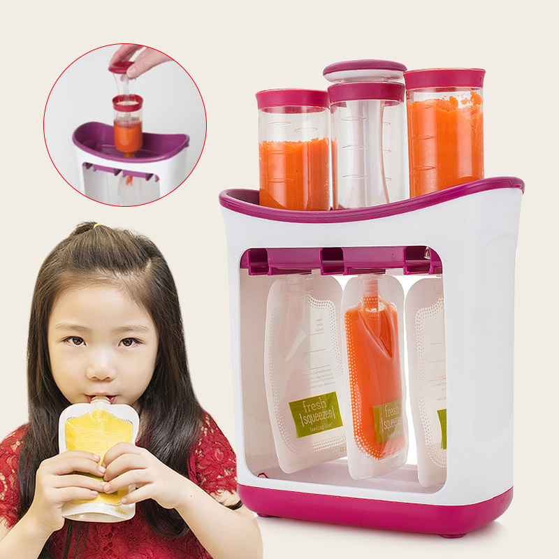 Squeeze Food Station Crush Fruit Puree Baby Food Organization Storage Containers Maker Set FJ88