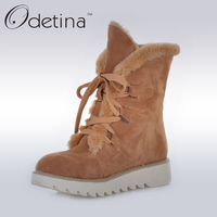 Odetina Brown Womens Suede Fur Lined Boots Non Slip 2016 Winter Women Ankle Boots Lace Up