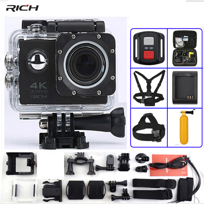 F60 Action Camera F60R Remote Control 4K 1080P/60fps WiFi 2.0 LCD 170D lens Helmet Waterproof 30M Extreme Sport Camera action camera h3r h3 ultra hd 4k 170d lens go dual screen camera pro waterproof 30m remote control sport camera