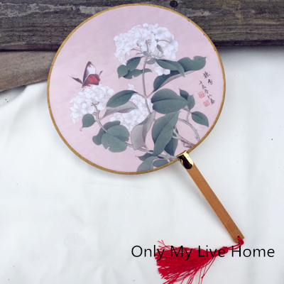 Fancy Vintage Chinese Round Hand Fans Wedding Favors  Traditional Craft Silk Fabric Fan Dance show Women Handle Fan|handle|handle fanhandles vintage - title=
