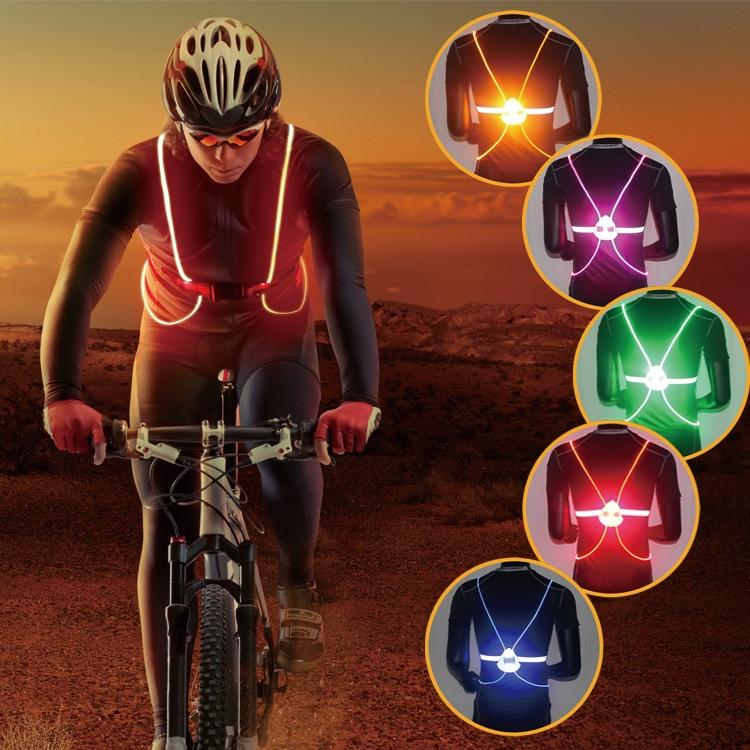 Night riding color reflective vest LED Cycling Back Bike ...