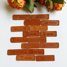 40pcs/lot PU Leather Labels Handmade garment 15MM*50MM sewing decorative accessories