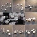 2017 NEW fashion Hot sale 925 Sterling Silver Pearl Earrings Sets Drop Earrings Fashion Jewelry Brincos For Women 8 Style