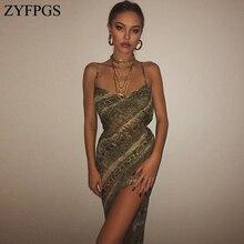 ZYFPGS 2019 Top Ladies Long Dress Sling Sexy Snake Womans Casual Fashion Slim Sleeveless Nightclub Sales Z0111