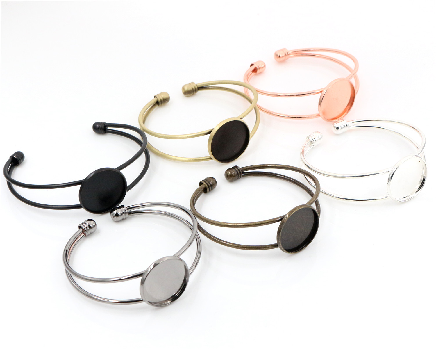 High Quality  20mm 6 Colors Plated Bangle Base Bracelet Blank Findings Tray Bezel Setting Cabochon Cameo
