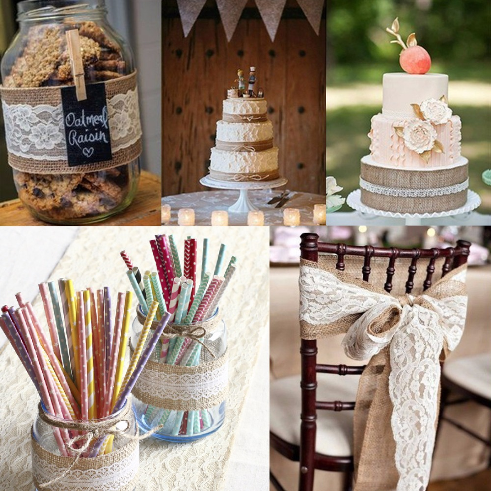Diy Burlap Wedding Ideas: 2Meter Jute Burlap Rolls Hessian Ribbon With Lace Roll