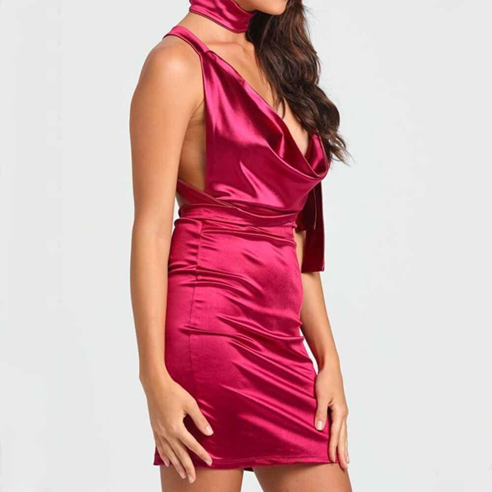 2017 New V neck Women Backless Tie Up Bandage Dess Vestido De Festa Curto Evening Party European style Strap Dress jd4
