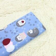 half meter 100% cotton poplin fabric cartoon hedgehog print blue bottom handmade garment dress children cloth T476