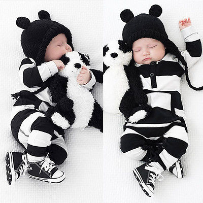 Super Cute Infants Baby Girls Boys Zebra Stripe Rompers Clothes Long Sleeve Romper Outfits 0-3Y Clothing 0 3y baby boys girls infants clothes long sleeve rompers outfits newborn infant kids winter clothing jumpsuits baby outwear