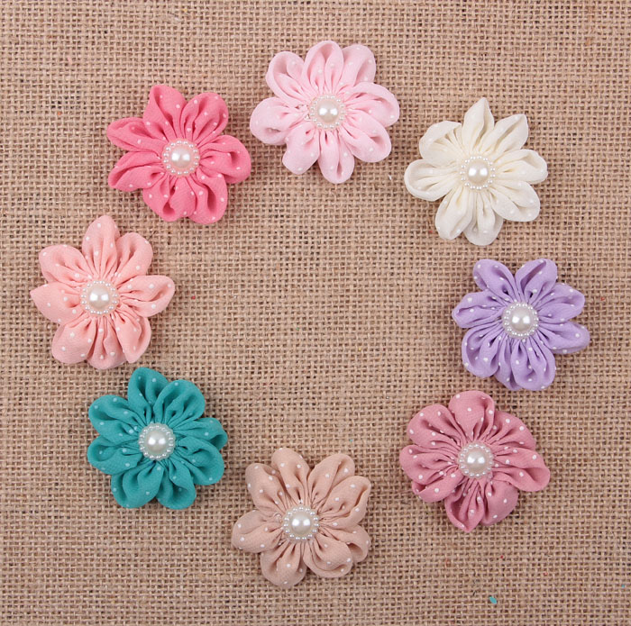 Yundfly 10pcs Dot Flower With Faux Pearl For Baby Infant Headbands Girls Hair Accessories Children Headwear Baby Accessories