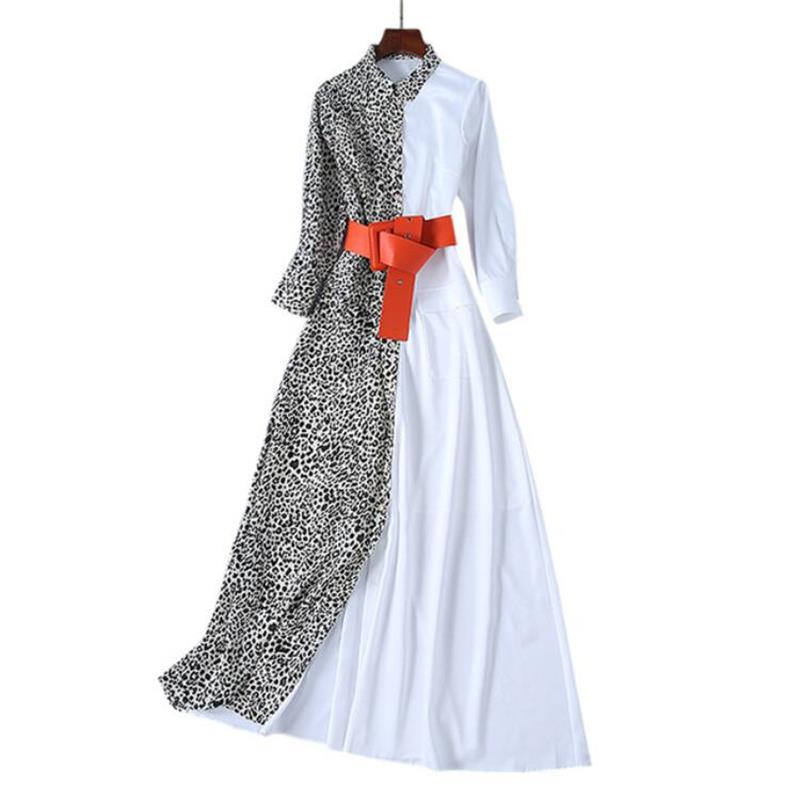 Women Runway Maxi Dres2019 High Quality Turn down Collar Long Sleeve Leopard and White Patchwork Print