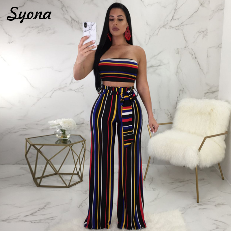 1c38db00138 Sexy Matching TWO PIECE SET Outfit For Women Tube Top Strapless 2 Two Piece  Suit Stripe Wide Leg Plus Size Two Piece Set Palazzo-in Women s Sets from  ...
