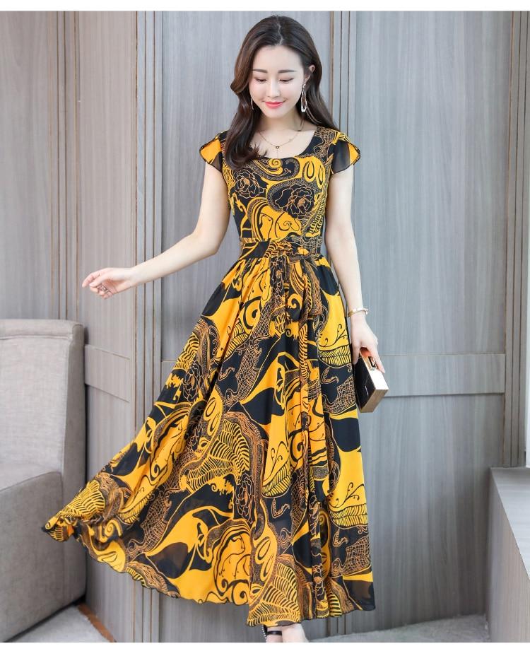Boho Dress Bohemian Summer for Women Plus Size 4XL Short Sleeve Vintage Chiffon Maxi Floral Office Formal Dress Women Elegant3
