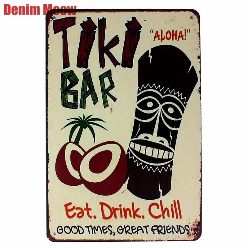 TIKI BAR Retro Plaque Metal Tin Signs Art Painting Decorative Plates for Bar Club Home Decor Wall Stickers Creative Gift N168(China)