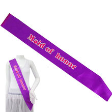 Purple ribbon pink band maid of honor sash Bride to be happy birthday party event ribbons birthday girl princess hen's favors(China)