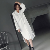Verão Maxi Vestido de Camisa Branca Mulheres Vestidos Tamanho Grande Longo-Manga Acima Do Joelho Vestido Longo Elegante Sexy Partido Túnica vestidos C3332