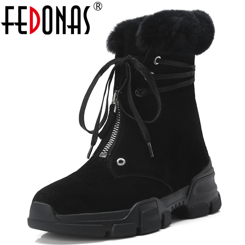 FEDONAS New Arrival Women Ankle Boots Platforms Warm Winter Snow Boots Punk High Quality Short Martin Shoes Woman Basic Boots fedonas new warm autumn winter snow shoes woman high heels zipper short martin boots retro punk motorcycle boots 2019 new shoes