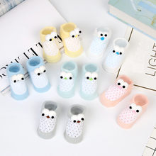 1Pairs/lot Newborn Baby Boys Girls Cartoon Eyes Floor Socks Anti-Slip Baby Step Shoes Socks Toddler Baby Clothes Accessories(China)