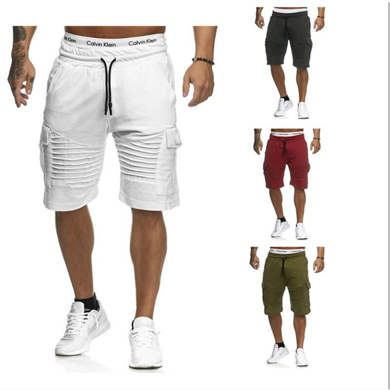 Shorts Cargo Elastic-Waist Fitness Men's Multi-Pocket Casual 5-Colors-Available Are