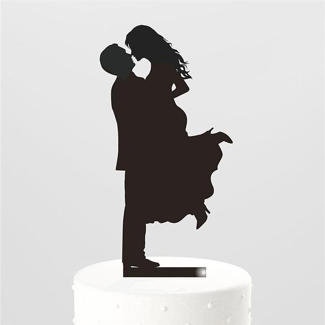 Hugging Bride and Groom Silhouette Wedding Cake topper Kiss Romantic ...
