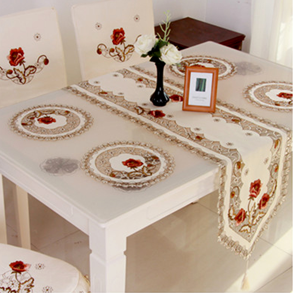 Yazi 4pcs Embroidered Peony Cutwork Table Placemats Round Pad