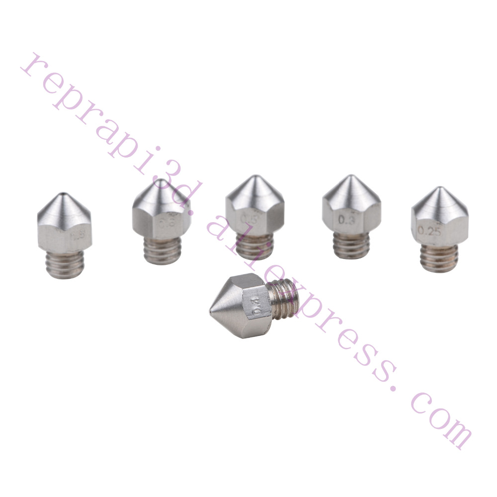 6pcs Stainless steel All Metal Hotend MK8 Nozzle M6 thread for CR10 Creality CR-10 MK8 Mk9 extruder 3D Printer use all metal mk8 extruder assembled kit for 3d printer