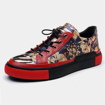 Luxury Printing Red Genuine Leather Casual Shoes 1
