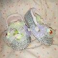 Envío gratis flores Hechas A Mano del rhinestone cristalino Encantador del Bebé niños zapatos de Niño hecho a mano Bling niños Primeros zapatos del grano suave