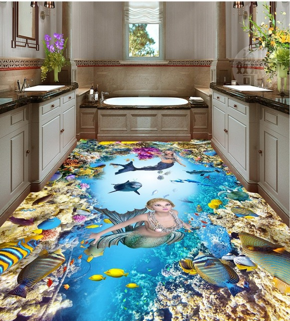 Free Shipping 3d Pvc Flooring Custom Wall Sticker Sea