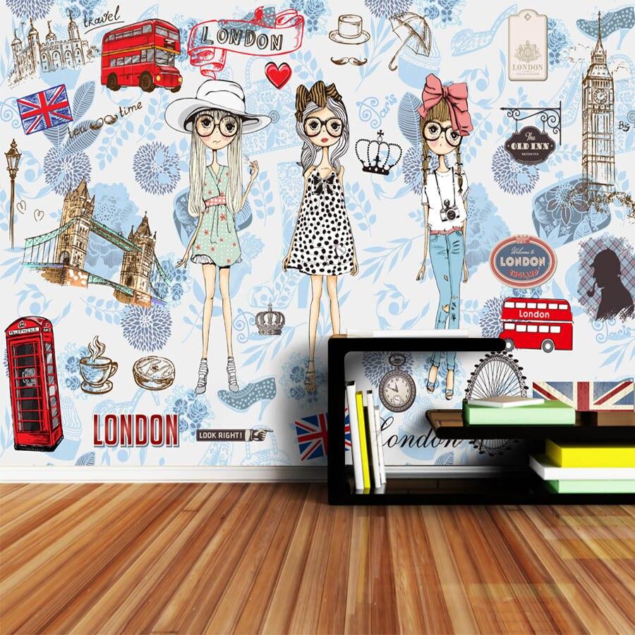 Image 4 - ShineHome Modern Custom 3D Wallpaper European City London Fashion Girl Wallpapers for 3 d Living Room Bar TV Cafe Wall PaperWallpapers   -