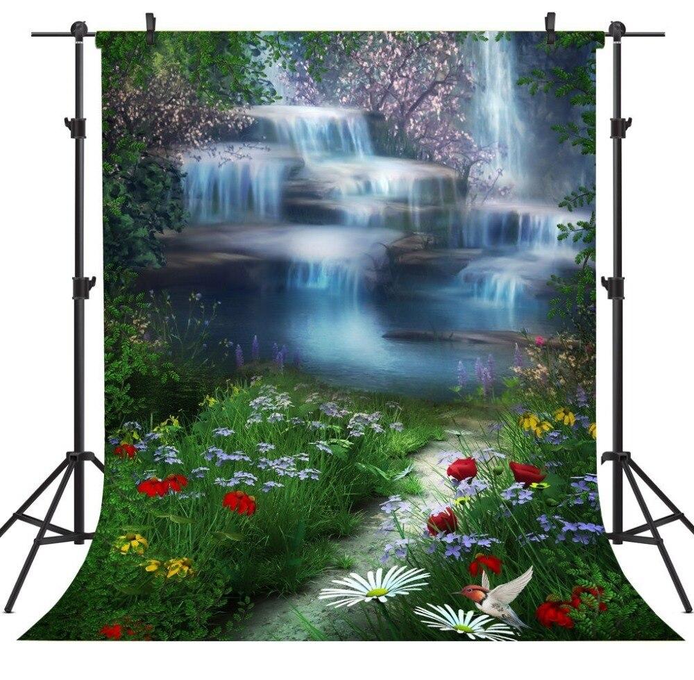 Capisco grass flowers Mountain Waterfall Lake Landscape Photography Backgrounds Vinyl Custom font b Camera b font