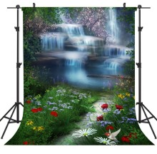 Capisco grass flowers Mountain Waterfall Lake Landscape Photography Backgrounds Vinyl Custom Camera Backdrops For Photo Studio