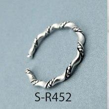Anenjary, 925 anillos de plata esterlina Vintage hecho a mano para hombres y mujeres, tamaño 18mm, anillos de plata tailandeses ajustables, S-R445 de personalidad
