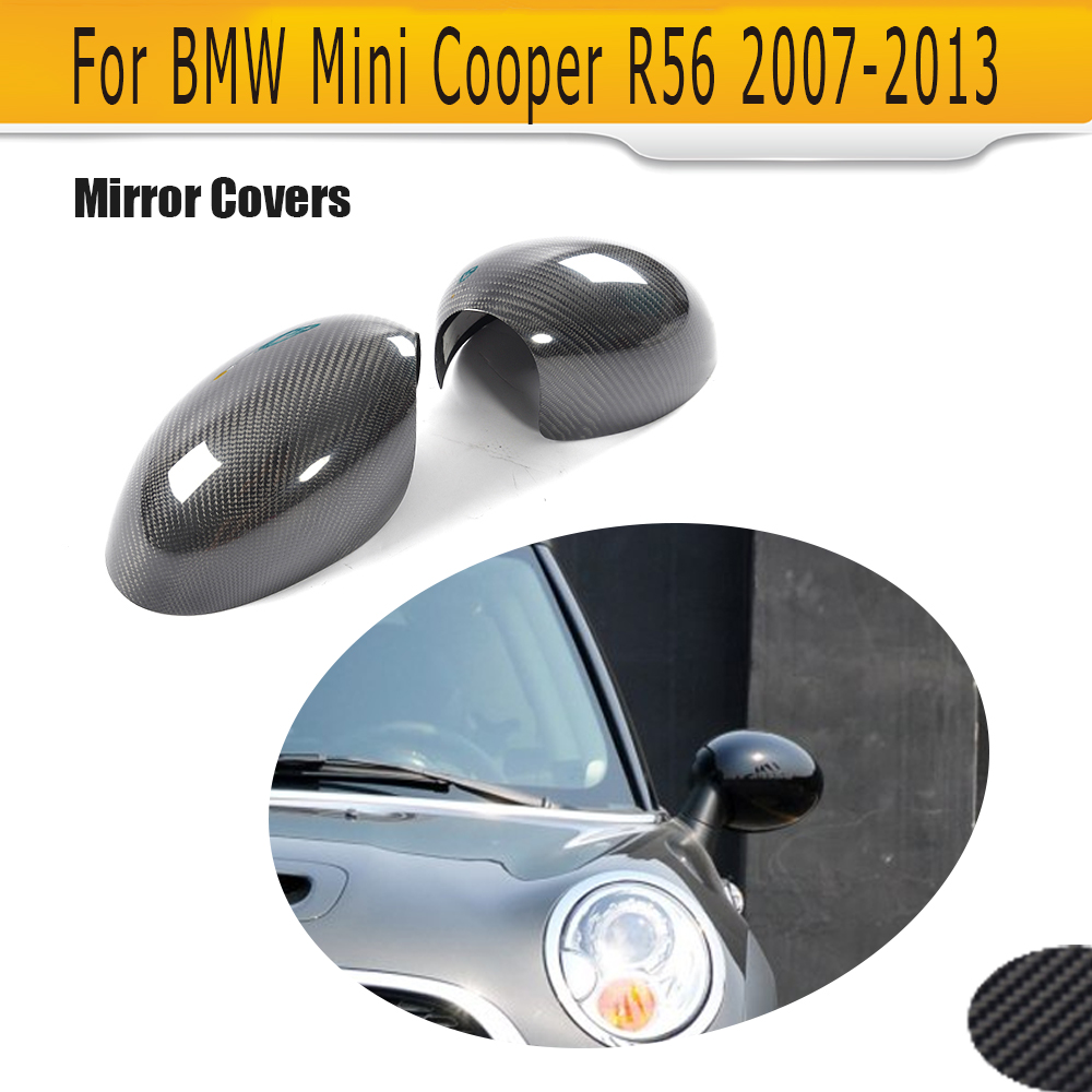 Carbon Fiber Add On Rearview Mirror Caps Covers Trim for BMW Mini Cooper R56 Only 2007-2013 2PC for cadillac ats full add on style carbon fiber mirror covers 2014 2015