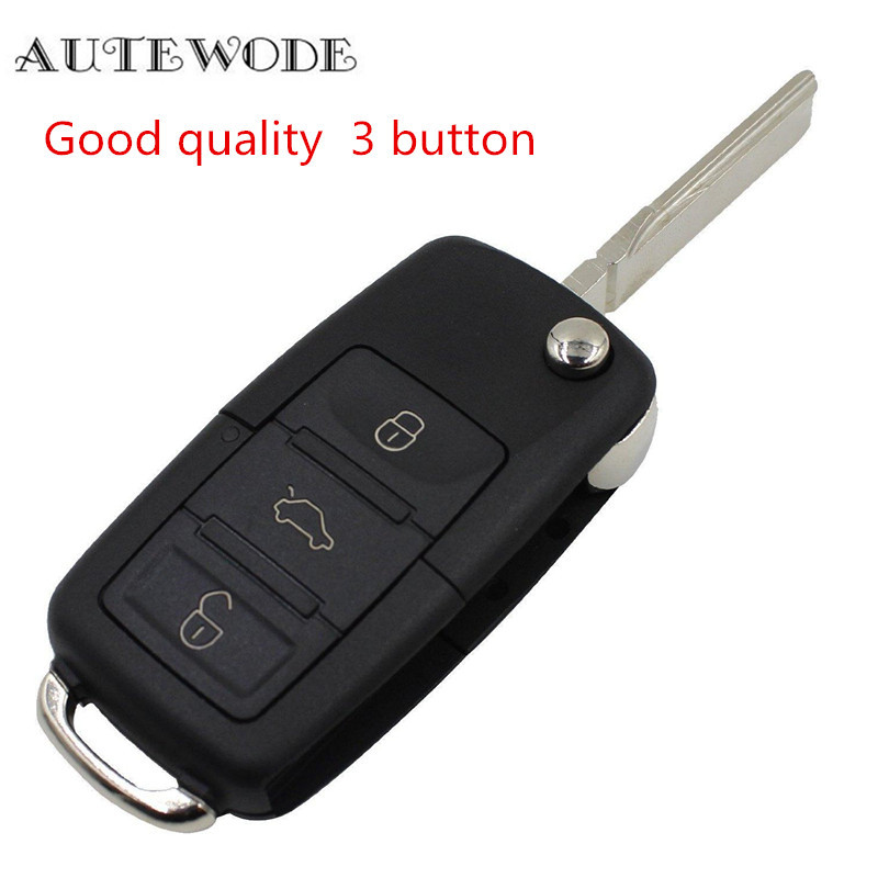 AUTEWODE 3 Button key shell case fits For VW MK4 Seat Altea Alhambra Ibiza Fob Remote Folding Key Shell accessories 1pc replacement key cover case remote key shell fits for fiat 500 fob colorful 1pc