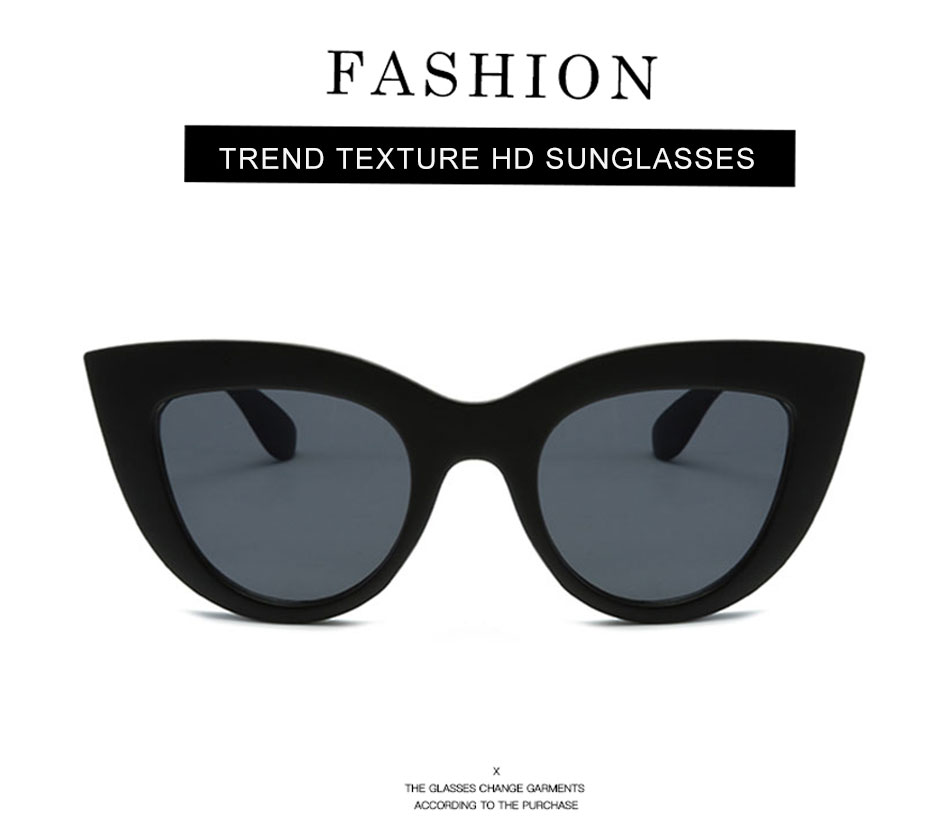 Black Classic Cat Eye Women Sunglasses Designer Brand Trend Style Glasses Adult Eyeglasses 2