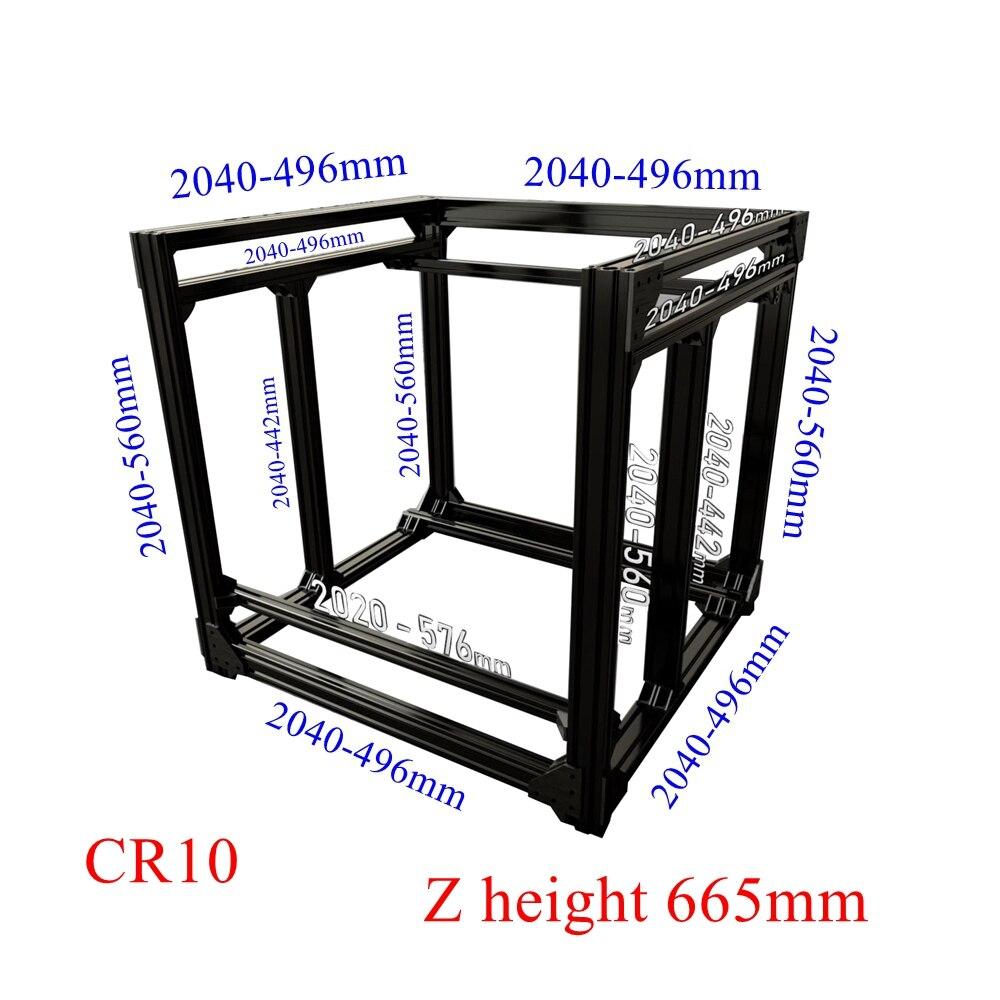 Extrusion en aluminium noir BLV mgn Cube cadre Extrusion et vis Kit de quincaillerie pour bricolage CR10 3D imprimante Z hauteur 665 MM