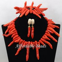 African Coral Jewelry Necklace Set Chunky African Coral Beads Necklace Set Bridal Jewellery Set Free Shipping CN211