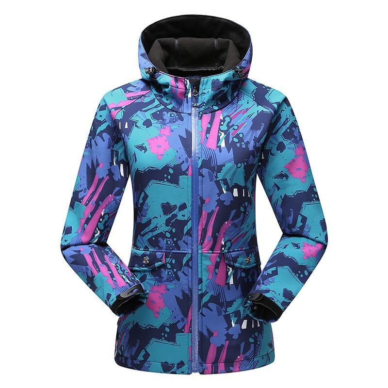 Women outdoor Softshell Quick Dry Waterproof Windproof Softshell jacket winter skiing winter skiing outdoor Camping jacket
