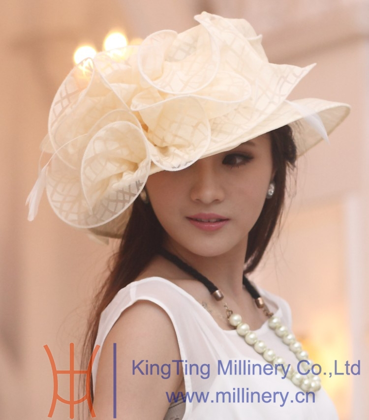 Free Shipping Fancy Hats For Women Dress Hat Organza Hat Sun Hat Casual  Dress Big Flower Fop Good Organza Flower Wedding Dress-in Fedoras from  Apparel ... f00cb1b7f21