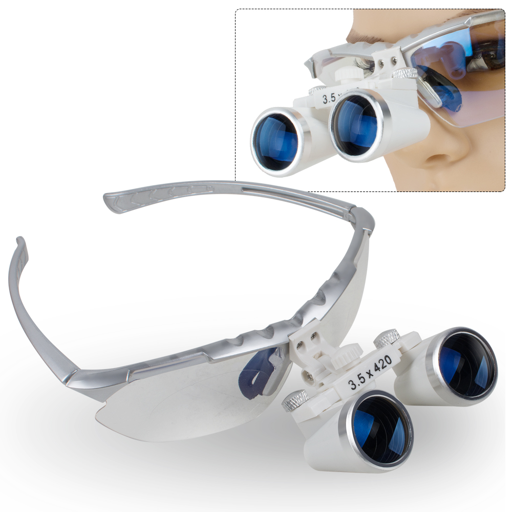 New Dentist Silver Dental Surgical Medical Binocular Loupes 3.5X 420mm Optical Glass Loupe With Carry Case 2018 new fashion dentist dental surgical medical binocular loupes optical glass loupe with colorful carry case free shipping